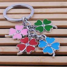 stainless steel clover keychain fashion four leaf clover keyring key chain key ring holder bag pendant charms цены онлайн
