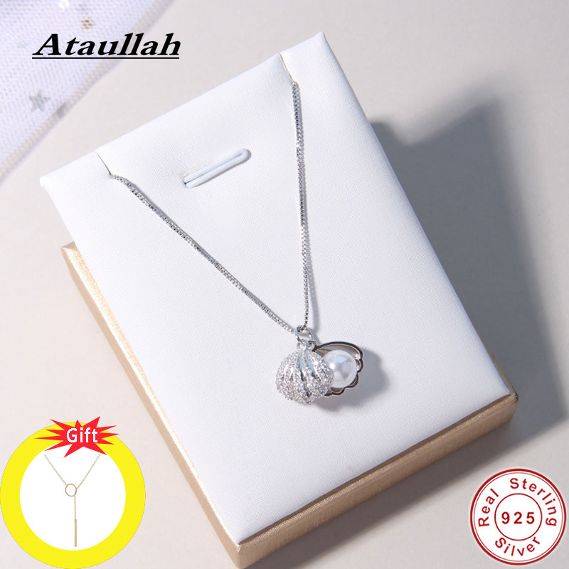 Ataullah Fashion Shell Pearl Necklace Simple Personality 925 Sterling Silver Pendant For Women Chain Party Jewelry Bijoux NW056