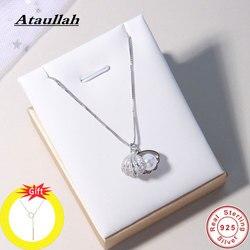 Ataullah Moda Kabuk Inci Kolye Basit Kişilik için 925 Ayar Gümüş Kolye kadın zincir Parti Takı Bijoux NW056