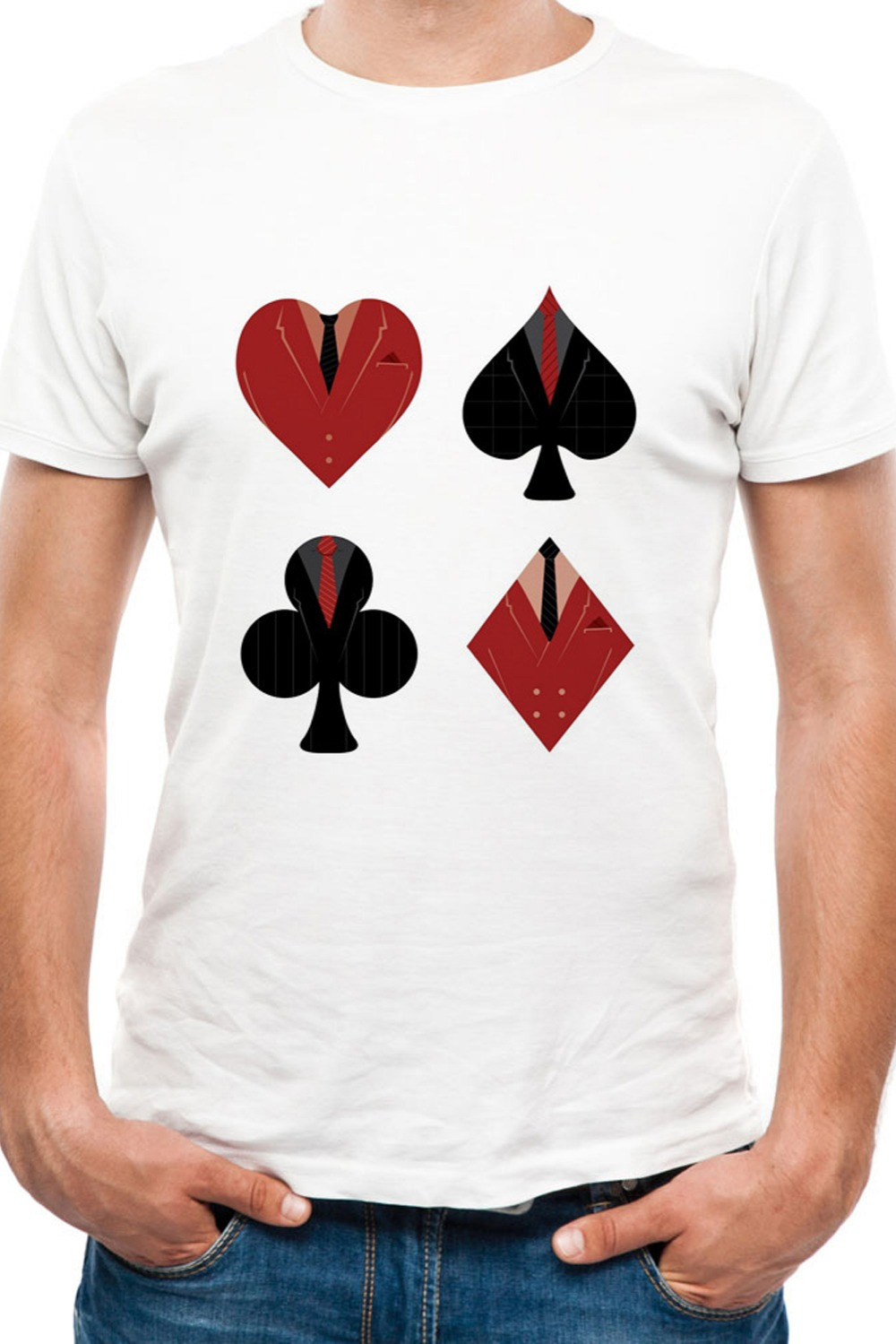 2018 Summer New Men T-shirt 3D Poker Fashion Short-sleeved Tops Round Neck T-shirt Poker short-sleeved O-neck T-shirt