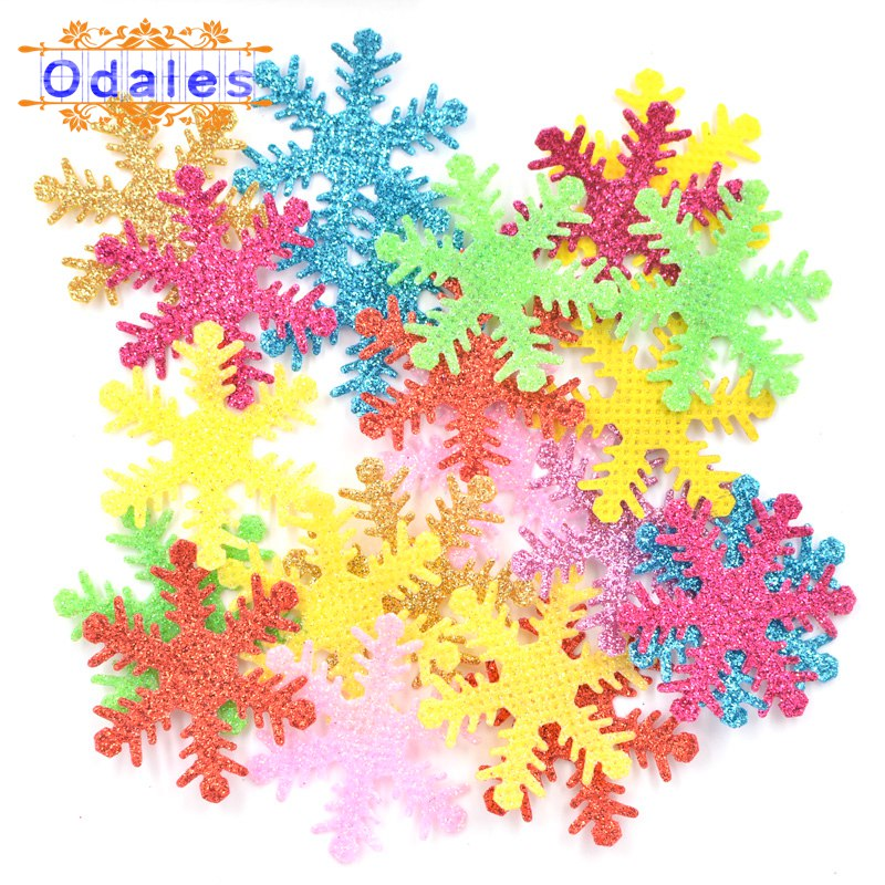 100Pcs Multicolor Mixed Christmas Snowflakes Ome Party Table DIY Handmade Gift Supplies Appliques Wedding Decoration