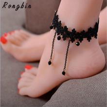 Handmade Gothic handmade black vintage lace women anklets DIY belt gift women accessories Gothic party jewelry