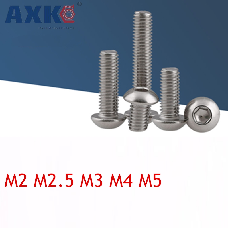 AXK 50pcs M2 M2.5 M3 M4 M5 Iso7380 Gb70.2 304 Stainless Steel A2 Round Head Screws Mushroom Hexagon Socket Button Screw m3 m4 m5 m6 m8 iso7380 stainless steel 304 round head screws mushroom hexagon hex socket button head screw bolt