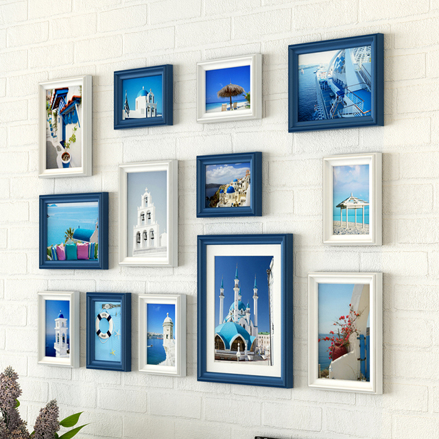 European Style Creative Wall Hanging Photo Frame Set 13 pcs Wooden Picture Frames Set Traceless Nail Picture Frames marco foto