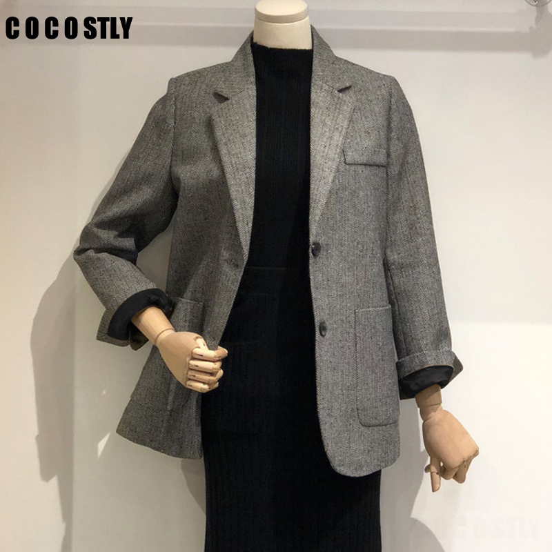 2019 Autumn Korean Blazer Women Herringbone Pattern Casual Blazers Single Breasted Office Lady Vintage Woolen Blazer Coats