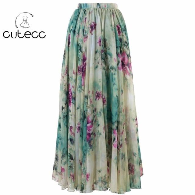5c0b32045bf Women chiffon BOHO floral print flowy hem elegant sweet summer beach wear  maxi skirt elastic waist flower femme pleated skirts