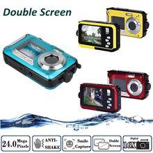 Envío Libre! HD 1080 P 24MP Doble Pantalla 16x Zoom Digital Subacuática Videocámara Cámara de Vídeo