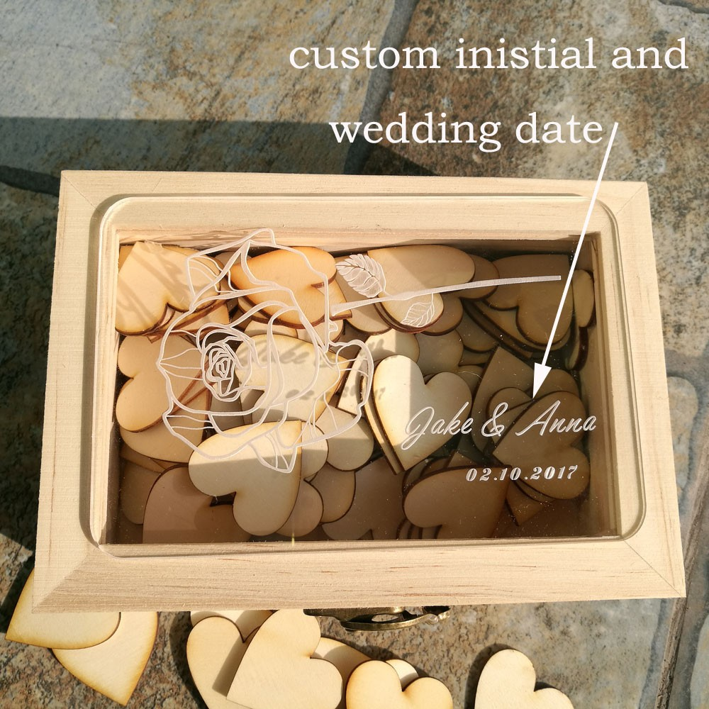 Personalized Acrylic Wedding Guest Book Bridal Shower 100pcs Love Hearts Custom Wooden Rectangle Keepsake BoxPersonalized Acrylic Wedding Guest Book Bridal Shower 100pcs Love Hearts Custom Wooden Rectangle Keepsake Box