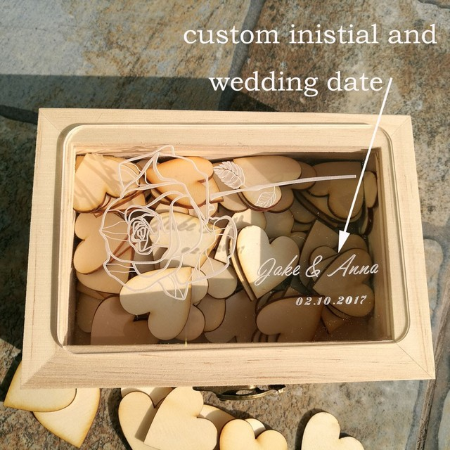personalized acrylic wedding guest book bridal shower 100pcs love hearts custom wooden rectangle keepsake box