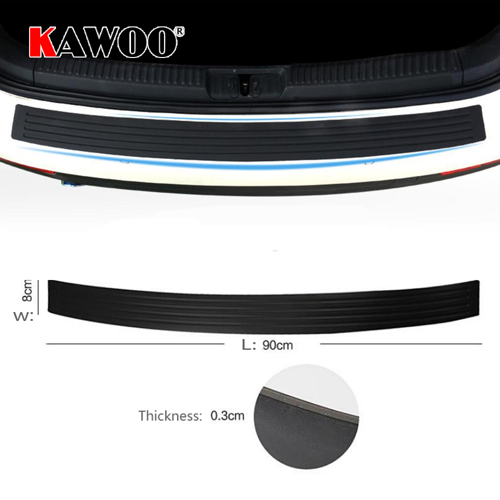 KAWOO For Nissan Tiida X-TRAIL SUNNY 350Z ROGUE ALTIMA Rubber Rear Guard Bumper Protect Trim Cover Sill Mat Pad Car Styling