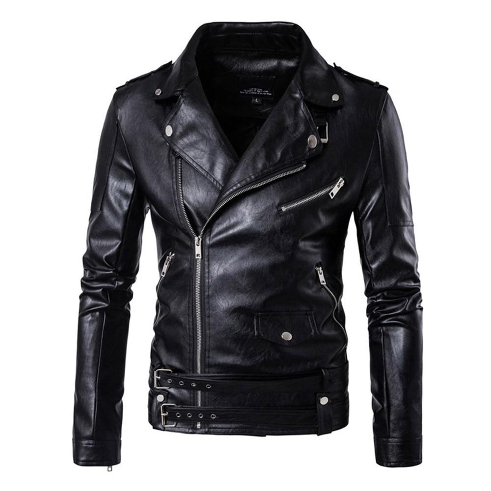 Herobiker Retro Faux Leather Motorcycle Jacket Men Moto Jacket Adjustable Waist Belt Windproof Motorbike Jacket Coats M-5XL faux leather moto jacket with buckle belt