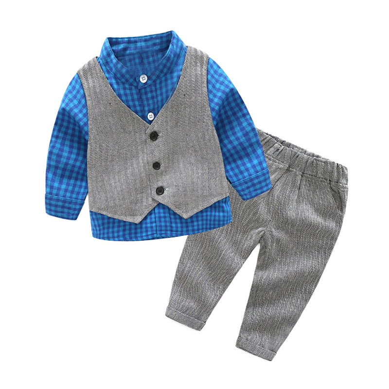 Toddler Baby Boys Clothes Gentleman Kids Infant Wedding Party Suits Outfits Plaid Shirt + Trousers + Vest 3PCS /Set