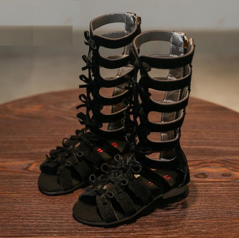 2018 summer childrens sandals girls fashion high Roman bow decorative sandals black brown Eur 26-35