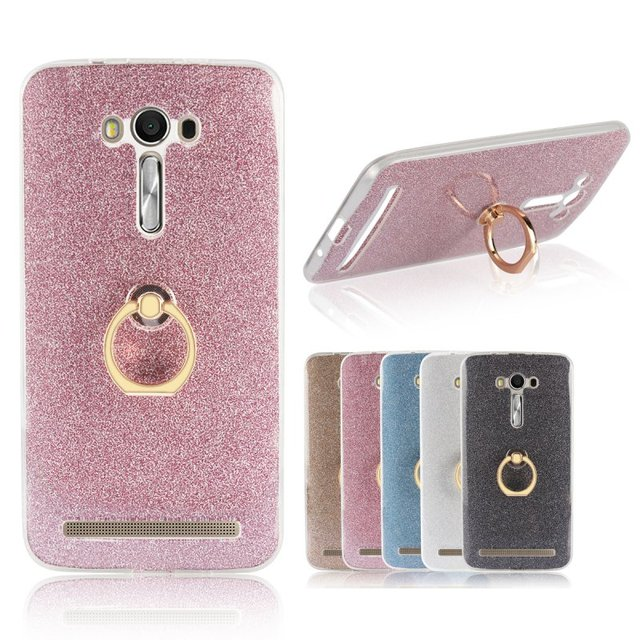 uk availability 0dd6d 687e0 US $2.98 15% OFF Phone Ring Holder Case for Asus Zenfone 2 Laser ZE500KL  ZE550KL Glitter Back Cover Silicone Gel Etui CapaCoque Hoesjes Capinhas-in  ...