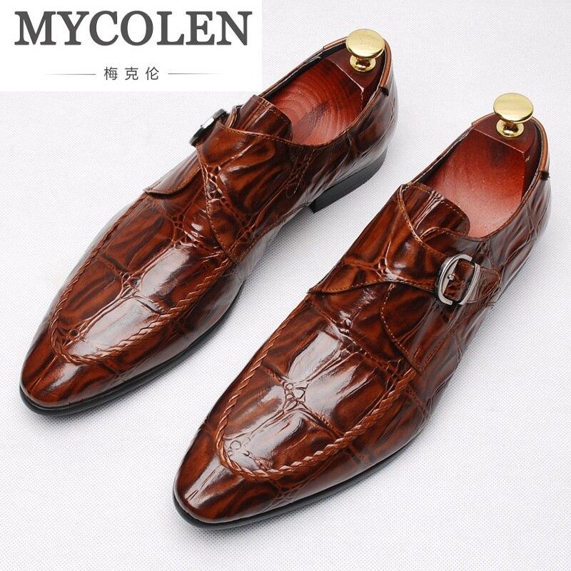 MYCOLEN мужские один монах ремень классический пояса из натуральной кожи туфли под платье мужские церковная обувь с кепки носком Элегантные ту