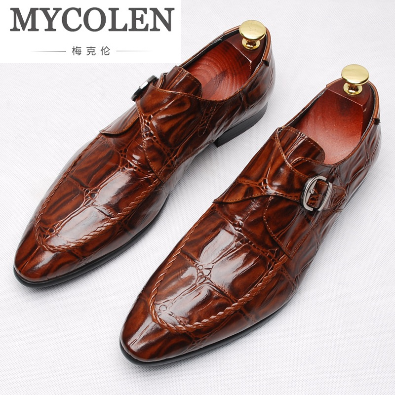 MYCOLEN Mens Single Monk Strap Classic Genuine Leather Dress Shoes Mens Church Shoes With Cap Toe Elegant Shoes New Zapatos sipriks mens single monk strap shoes fashion mens topsiders shoes pointed toe real leather dress shoes with buckle strap work