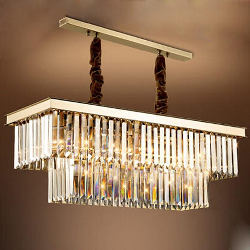 Modern Rectangular Crystal Gold Pendant Lamp LED E14 Crystal Dining Room  Chandelier Metal Creative Lamp For Living Room Bar