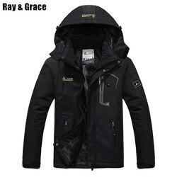 RAY GRACE Plus Size Winter Outdoor Coat Warm Thick Windbreaker Hiking Clothes Sportswear Ski Snowboard Jacket Men Women Parka