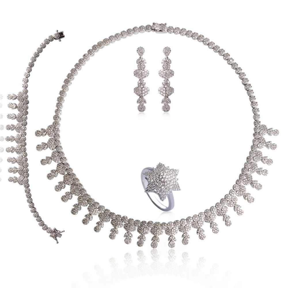 Dazz Свадебный комплект ювелирных изделий AAA + полный кубический циркон Африканский бисер комплекты украшений для женщин серьги широкое кольцо ожерелье 4 шт