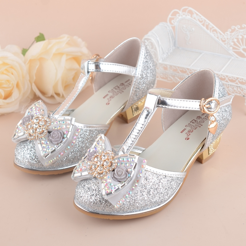 flowers girls princess sandals 2017 new brand summer children wedding shoes for student glitter kids party shoe size 2737