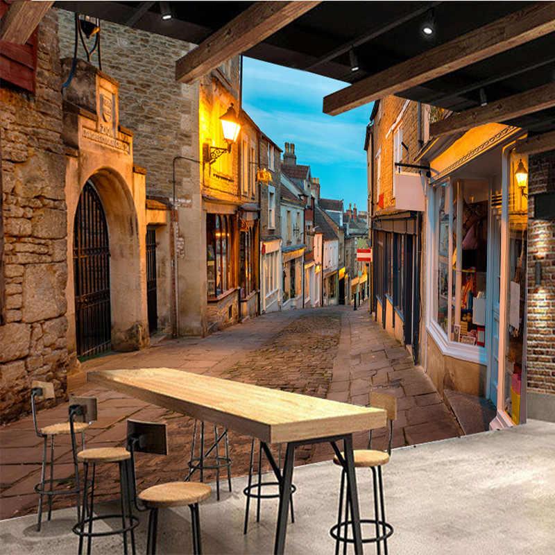 Murales personalizados foto papel tapiz 3D calle europea ciudad paisaje pared paño restaurante café Fondo revestimiento de pared, decoración para el hogar