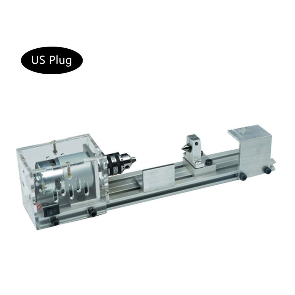 High Quality DIY Small Lathe Mini Buddha Beads Machine Wooden Bowl Processing Woodworking Lathe 24V 80W 4000-8000r/min US Plug home buddha machine wm210v small ball machine mini machine tool teaching lathe woodworking wm180v 0618