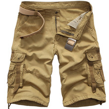 Men Cargo Shorts Casual Loose Khaki Short Pants Fashion Camouflage Military Summer Style Knee Length Male