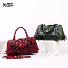 Women's handbag genuine leather handbag large bag first layer of cowhide embossed women's handbag chinese style one shoulder