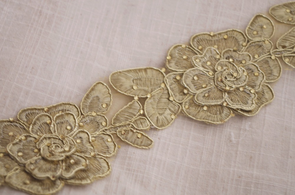 1 yard gold cord embroidered lace trim with gold rhinestone hot fix beaded,  vintage golden rossetle floral trimming lace-in Lace from Home & Garden on  ...