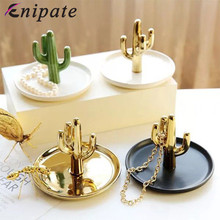 Enipate Nordic Cactus Jewelry Display Storage Trays Stand Dish Holder Trinket Plant Ring INS Hot Decoration