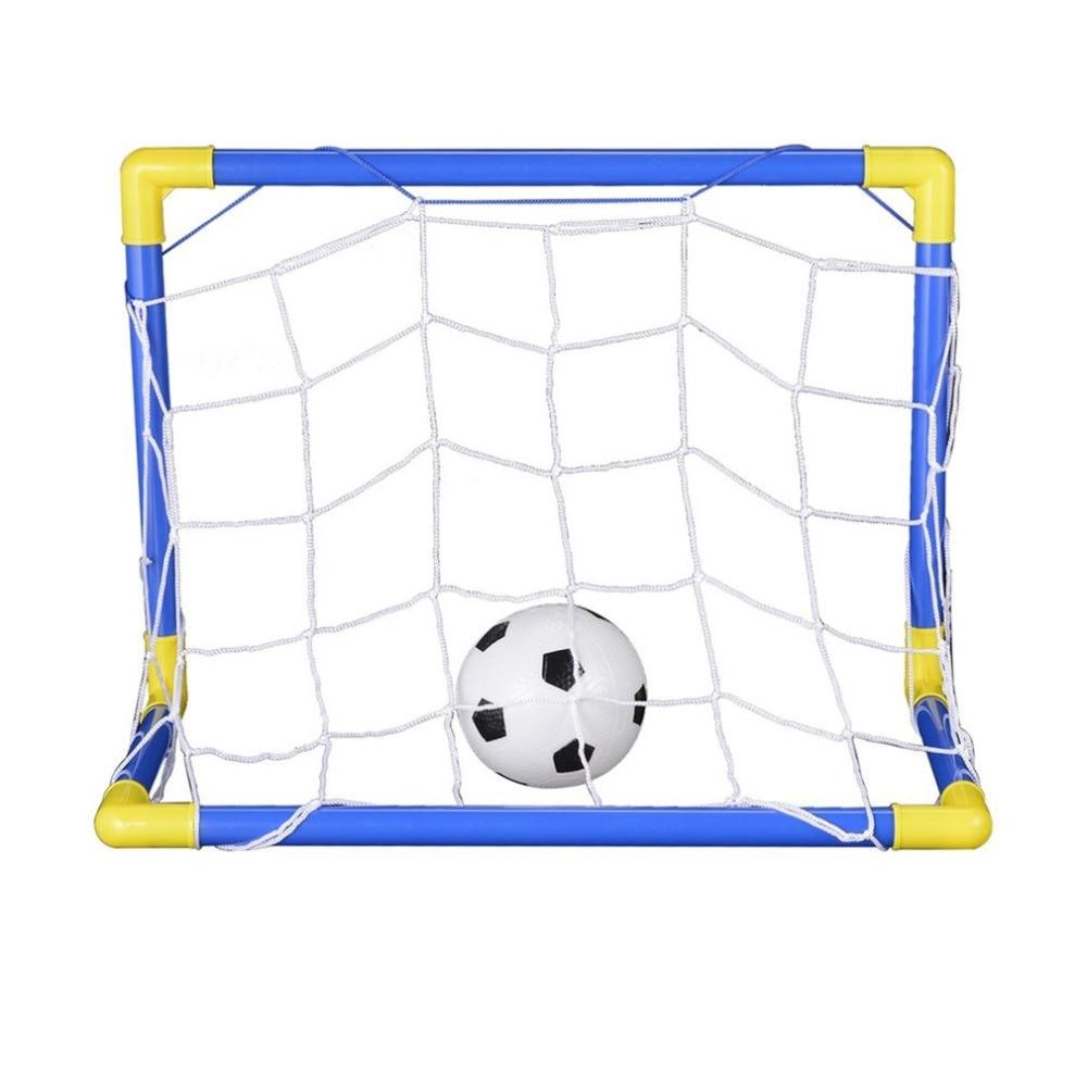 Folding Mini Football Soccer Ball Goal Post Net Set + Pump Kids Sport Indoor Home Outdoor Games Toys Child Birthday Gift Plastic
