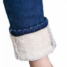 Plus aksamitna wysokiej talii dżinsy kobiet dorywczo rocznika jesień zima gruba z rozmiarem dżinsy Femme wysokie elastyczne damskie dżinsy Q756