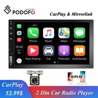 Podofo 2 Din Car Radio 7'' HD Touch Screen Auto Radio Stereo Multimedia Audio Video MP5 Player Bluetooth FM Mirror link Car Play