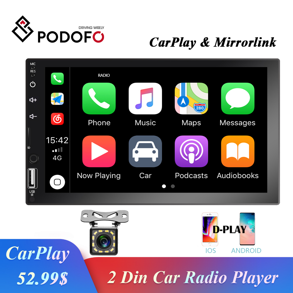 Podofo 2 Din <font><b>Car</b></font> Radio 7'' HD Touch Screen Auto Radio Stereo Multimedia <font><b>Audio</b></font> <font><b>Video</b></font> MP5 Player Bluetooth FM Mirror link <font><b>Car</b></font> Play image