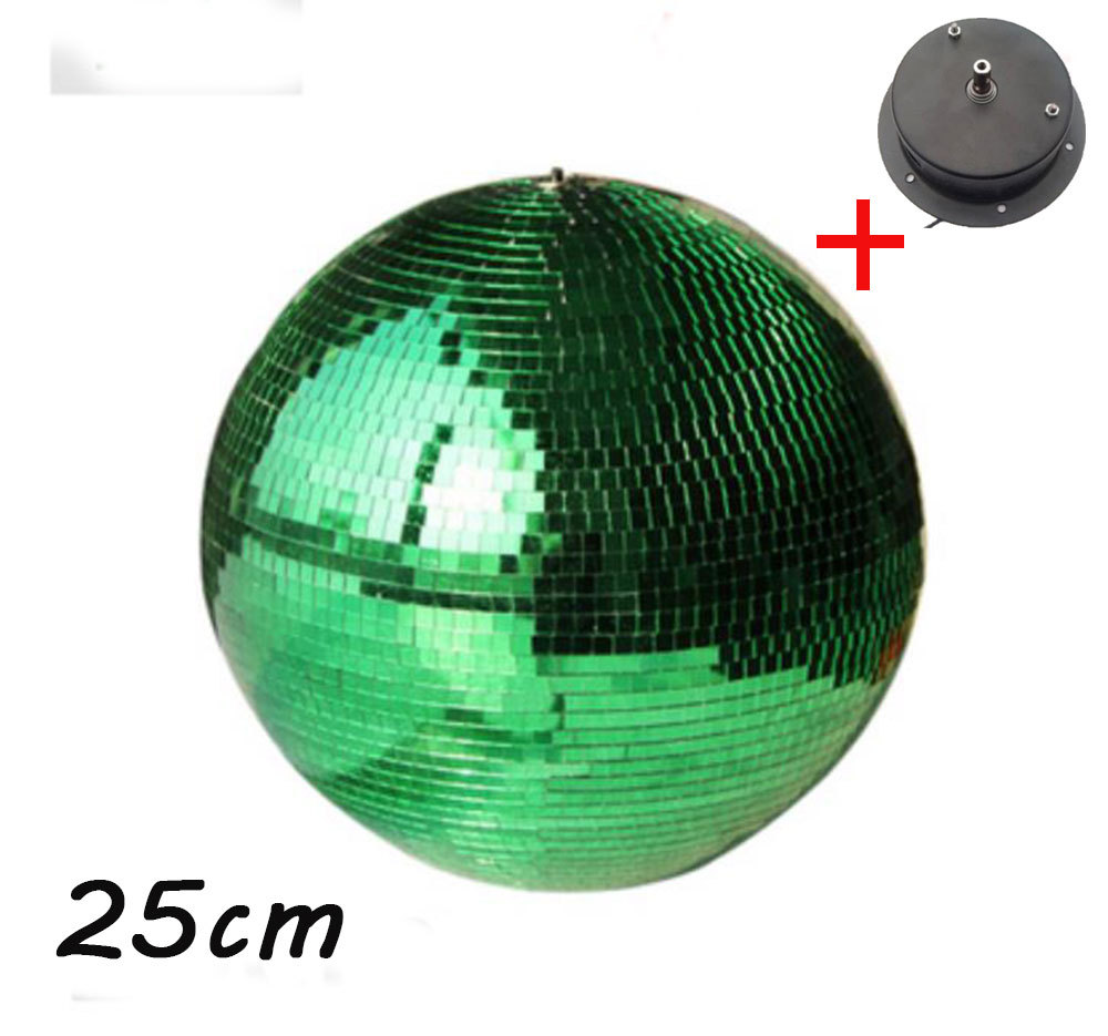 D25cm Green glass rotating mirror ball 10