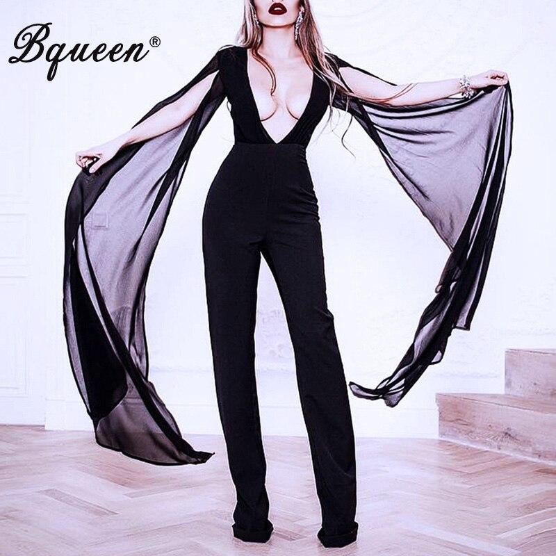 Mode Des Mousseline Bodycon Manches Celebrity De Party Femmes V Sexy Cou 2017 Noir Club Printemps Bqueen Nouvelle Longues À Soie Barboteuse Pantalon Survêtement En vHZnEwt0