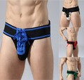 2016 Mens Athletic Supporters JockStrap Waistband Sexy Lace Up Briefs Jock Strap Front Lacing sports Underwears (S, M, L, XL)