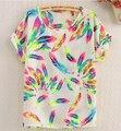 S-xl 6 nuevo estilo de moda de chiffion Batwing manga corta T-Shirt mujeres sueltas camisas tops