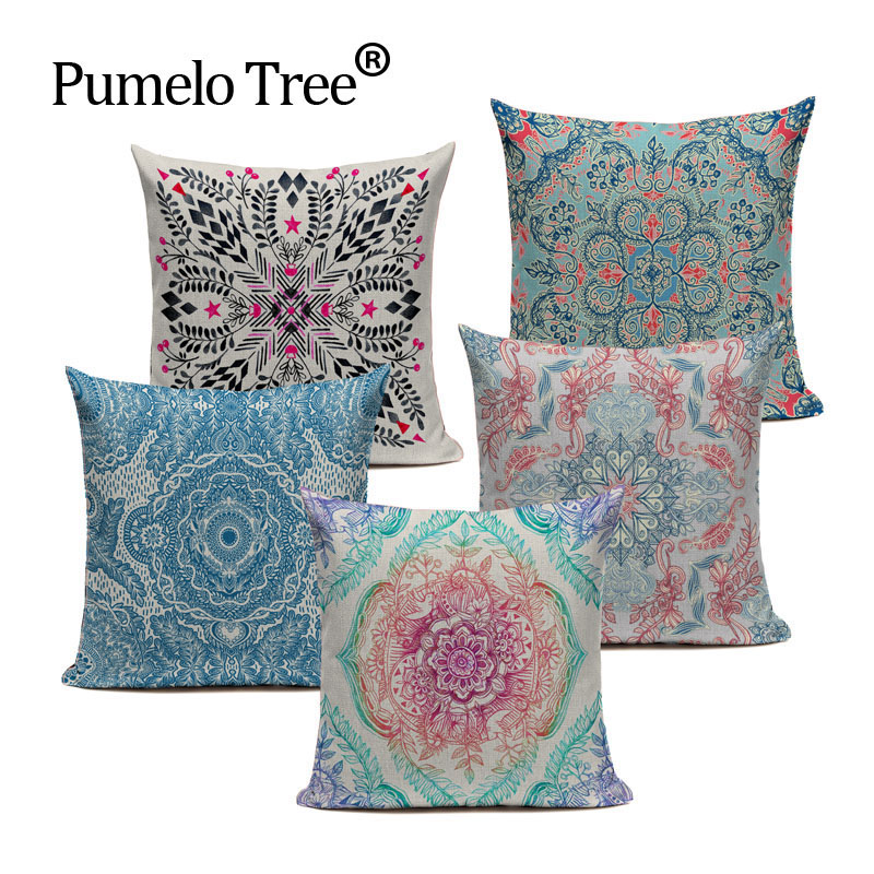 Floral Print Bohemian Indian Style Cushion Cover Bedroom Car Cotton Linen Home Decoraction Sofa Vintage Custom Pillow Case