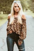 long sleeve lfemale shirts women 2019 streetwear boho tops plus size new slash neck casual leopard woman blouse off-shoulder