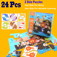 Noah's Ark Puzzles Two Side Puzzles Story + Animals Learning Toys Gifts For Kids Montessori Educational Games Children's Toys