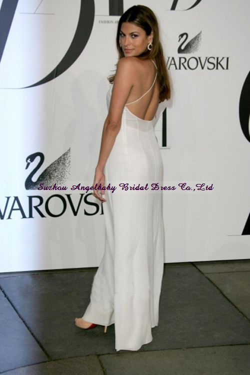 Eva Mendes Y Spaghetti Straps Celebrity Floor Length White Evening Dress In Dresses From Weddings Events On Aliexpress Alibaba Group