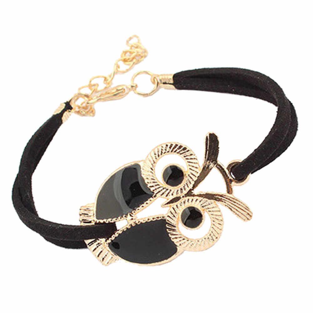 Moda kobiet dziewczyny bransoletki w stylu Vintage sowa dekoracja opaska na nadgarstek Faux skórzane bransoletki bez skazy biżuteria akcesoria bransoletka