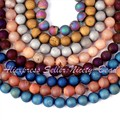 """Envío gratis 8 mm ronda metálico recubierto Druzy Agate Onyx Gem Beads piedra piedras naturales para la joyería que hace el arte Strand 15 """"/Lot"""
