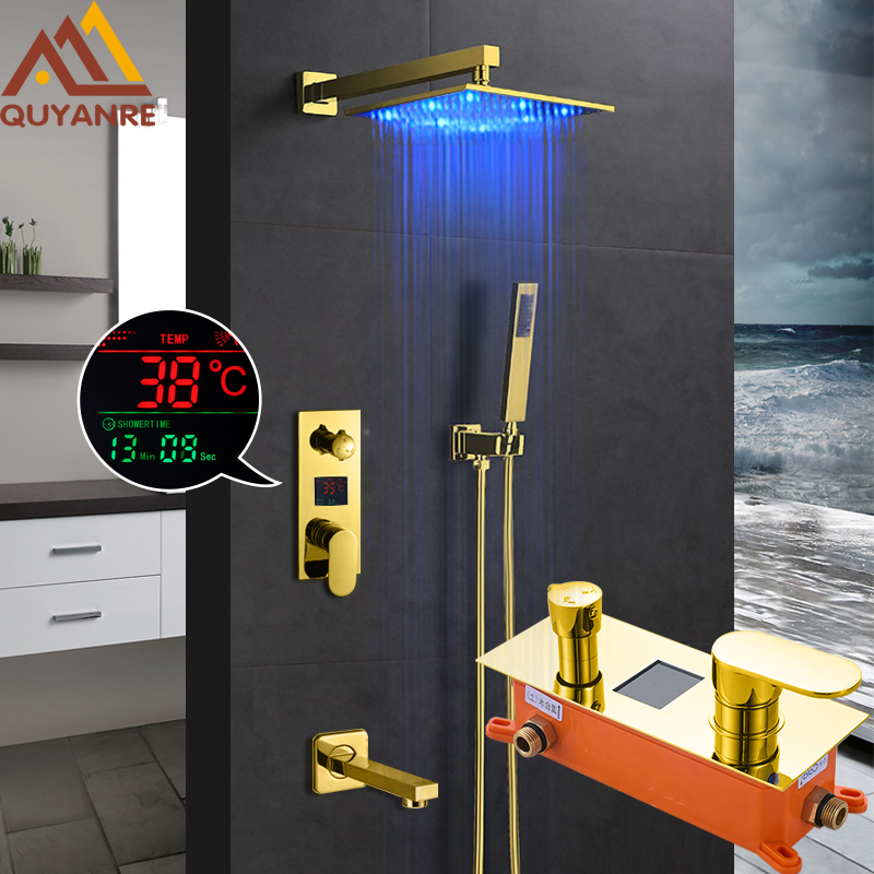 купить Quyanre Gold Digital Shower Faucets Set LED Rainfall Shower Head Golden 3-Way Digital Temp Display Mixer Tap Tub Spout Shower по цене 9383.66 рублей