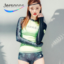 цены Jersqons Rash Guard Women Rashguard Swimming Suit Lycra Surfing Swimwear Korean Long Sleeve Outdoor Sports Yoga Maillot Swimsuit