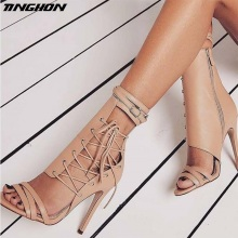 TINGHON  Sexy High Heels Sandals Thin Gladiator Women Summer Party Shoes Lace-Up Wedding