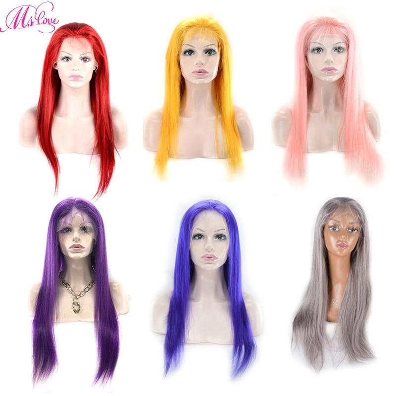 Ms Love dentelle avant perruques de cheveux humains rouge bleu gris rose violet jaune cheveux raides brésilien frontale perruques Remy 130% 150% densité
