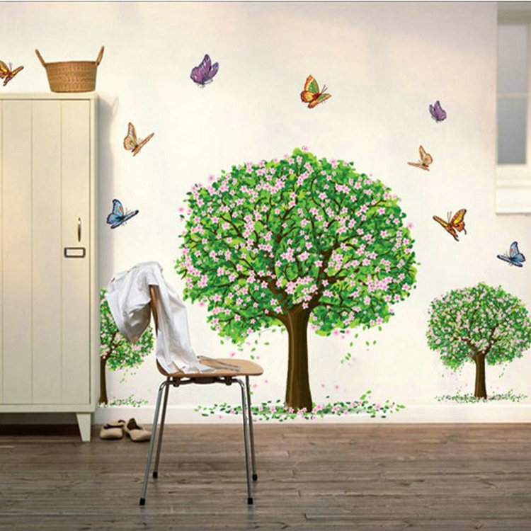 New Happy Butterfly Tree Removable Vinyl Decal Art Wall Stickers ...