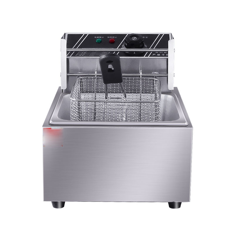 6L Stainless Steel Single tank Electric deep fryer smokeless French Fries Chicken grill6L Stainless Steel Single tank Electric deep fryer smokeless French Fries Chicken grill